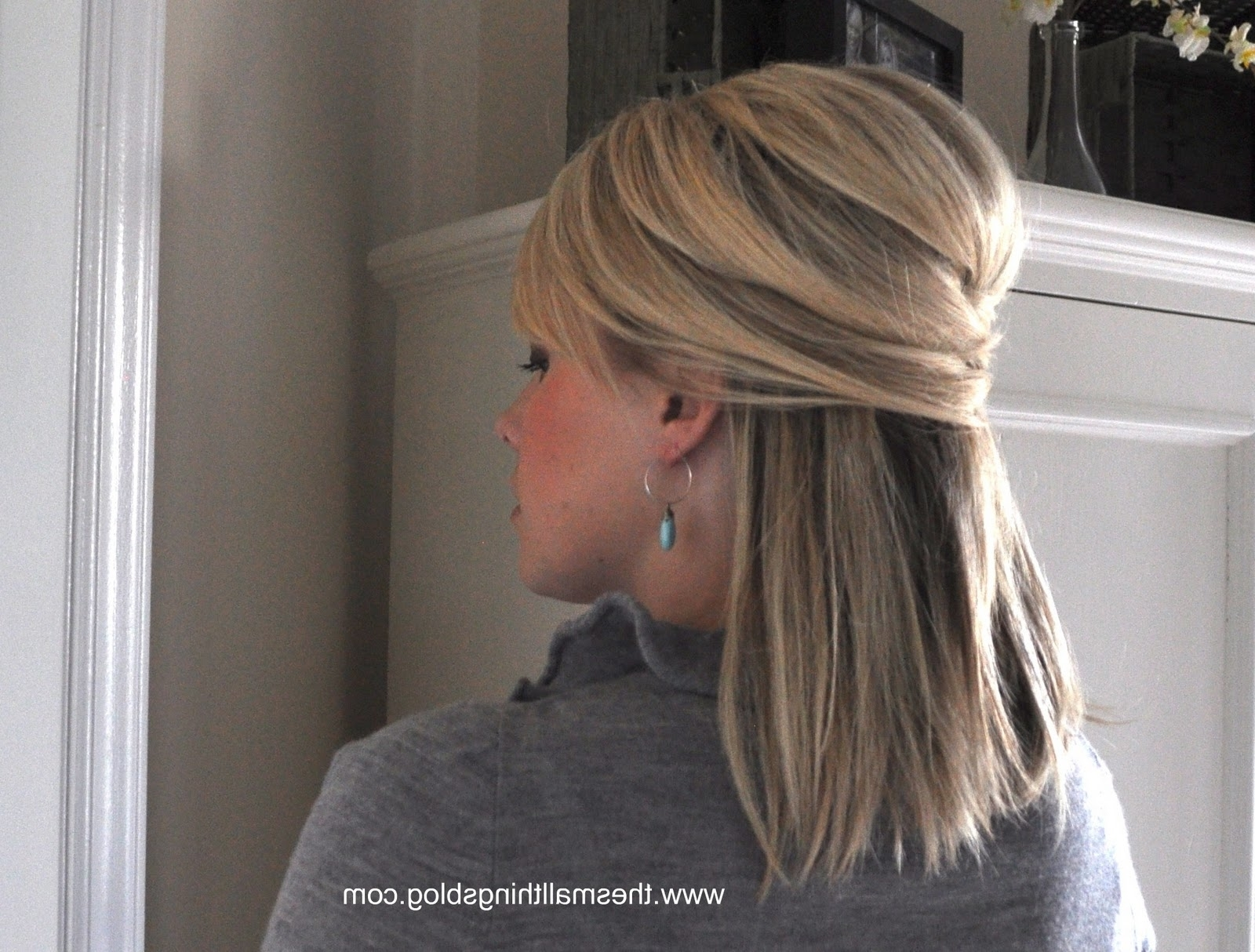 Elegant Half Up – The Small Things Blog With Regard To Well Known Wedding Hairstyles For Straight Mid Length Hair (View 4 of 15)