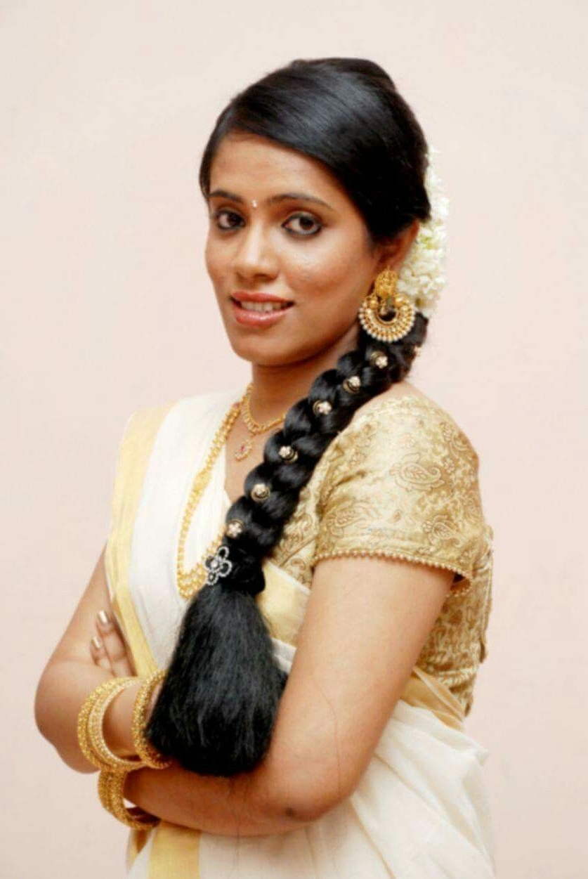 Famous Kerala Wedding Hairstyles For Long Hair Pertaining To South #indian #bride #wedding #beautiful #kerala #mac #kerala (View 12 of 15)