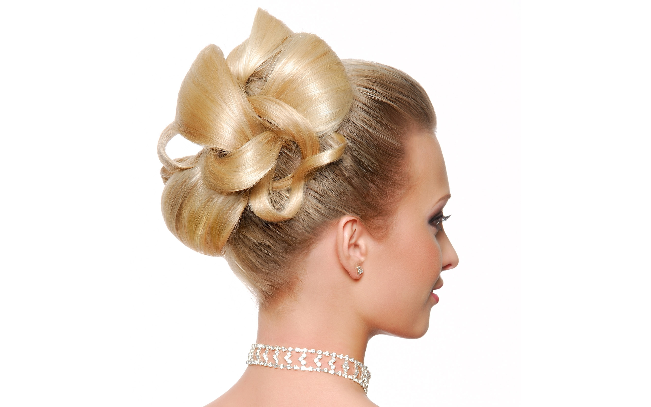 Famous Modern Wedding Hairstyles For Bridesmaids Inside Modern Wedding Hairstyle Rear View Isolated White (View 2 of 15)