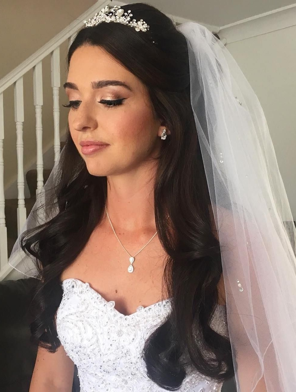 Famous Wedding Hairstyles Down With Veil Pertaining To Half Up Half Down Wedding Hairstyles – 50 Stylish Ideas For Brides (View 4 of 15)