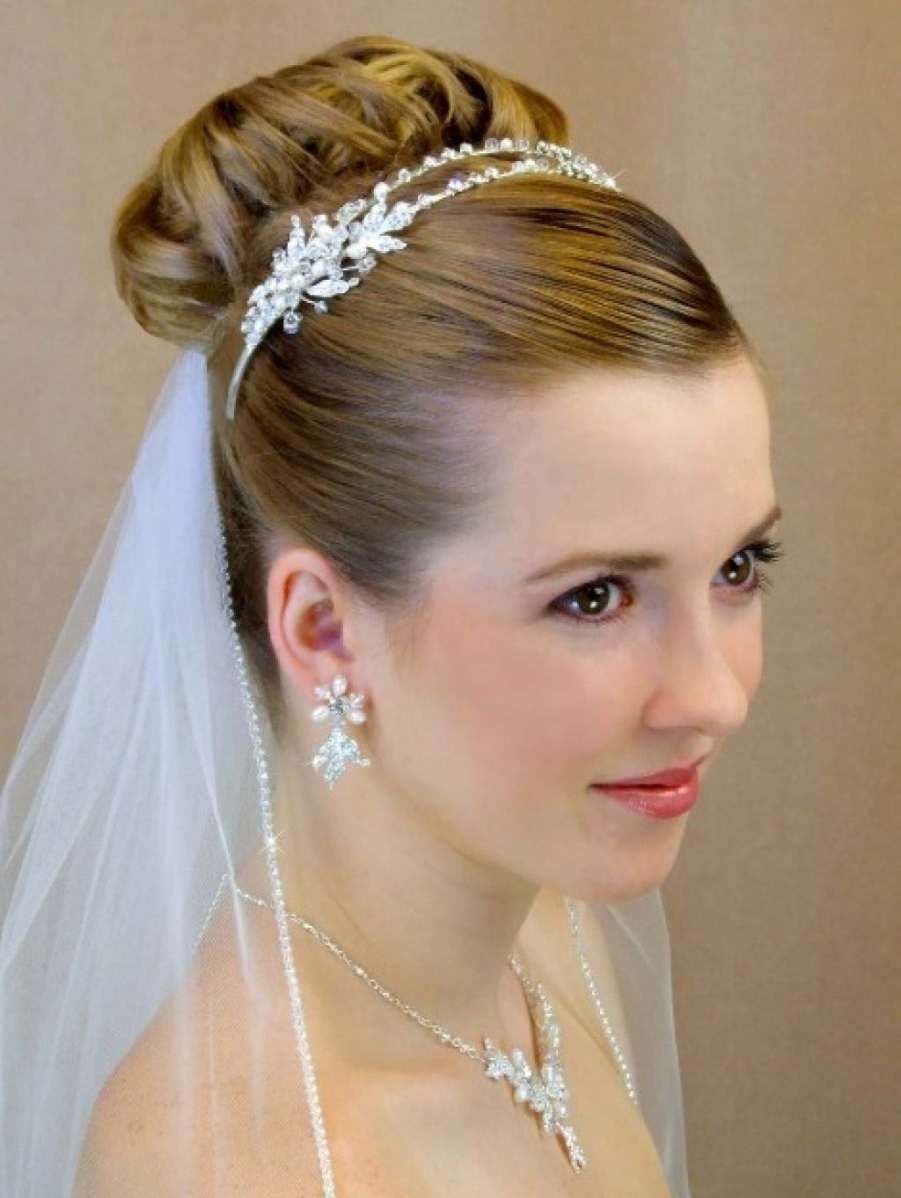Famous Wedding Hairstyles For Long Hair Down With Veil And Tiara With Hairstyles Bridal With Veil And Tiara Trendrstylercut Weddingr Updo (View 11 of 15)