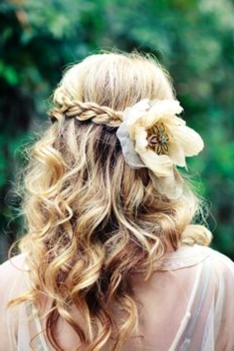 Famous Wedding Hairstyles For Medium Length Curly Hair Within Wedding Hairstyles Ideas: Curly Half Up Fancy Wedding Hairstyles For (View 15 of 15)