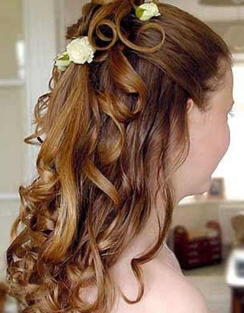 Famous Wedding Hairstyles For Medium Length Hair With Flowers Pertaining To Wedding Hairstyles Ideas: Curly Half Up Hairstyles For Long Hair For (View 7 of 15)