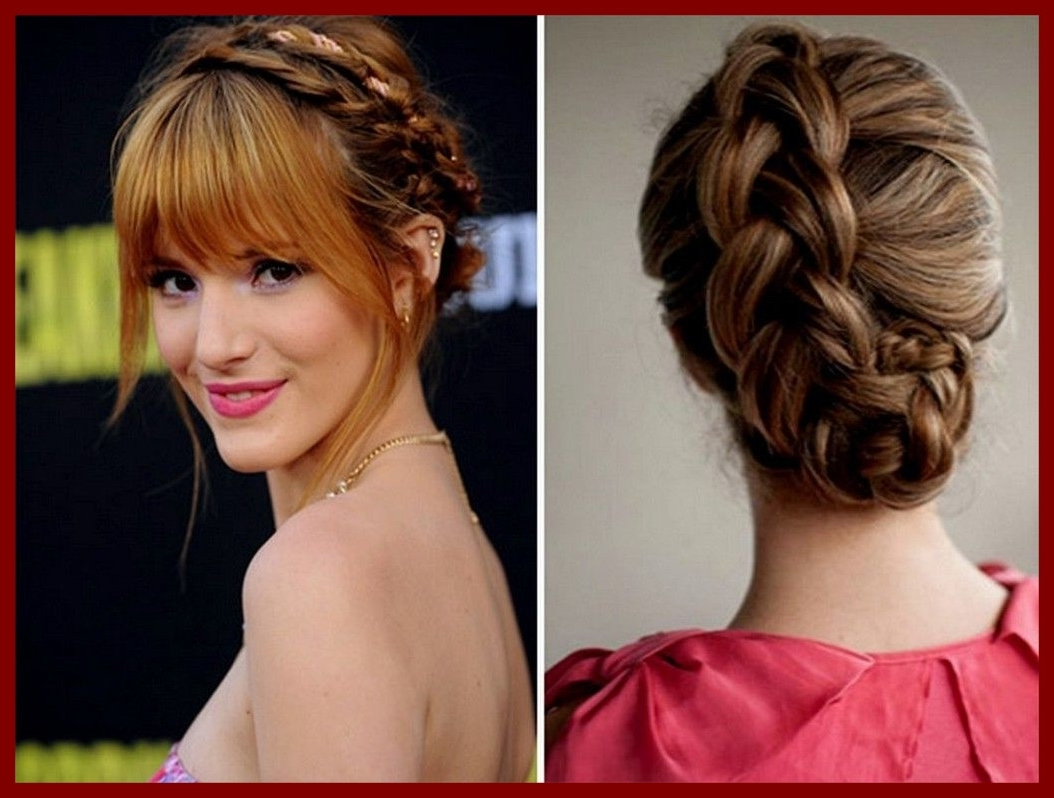 Famous Wedding Hairstyles With Bangs With Regard To Fascinating Wedding Hairstyles Bangs Updo With Loose Braids Black Of (View 7 of 15)