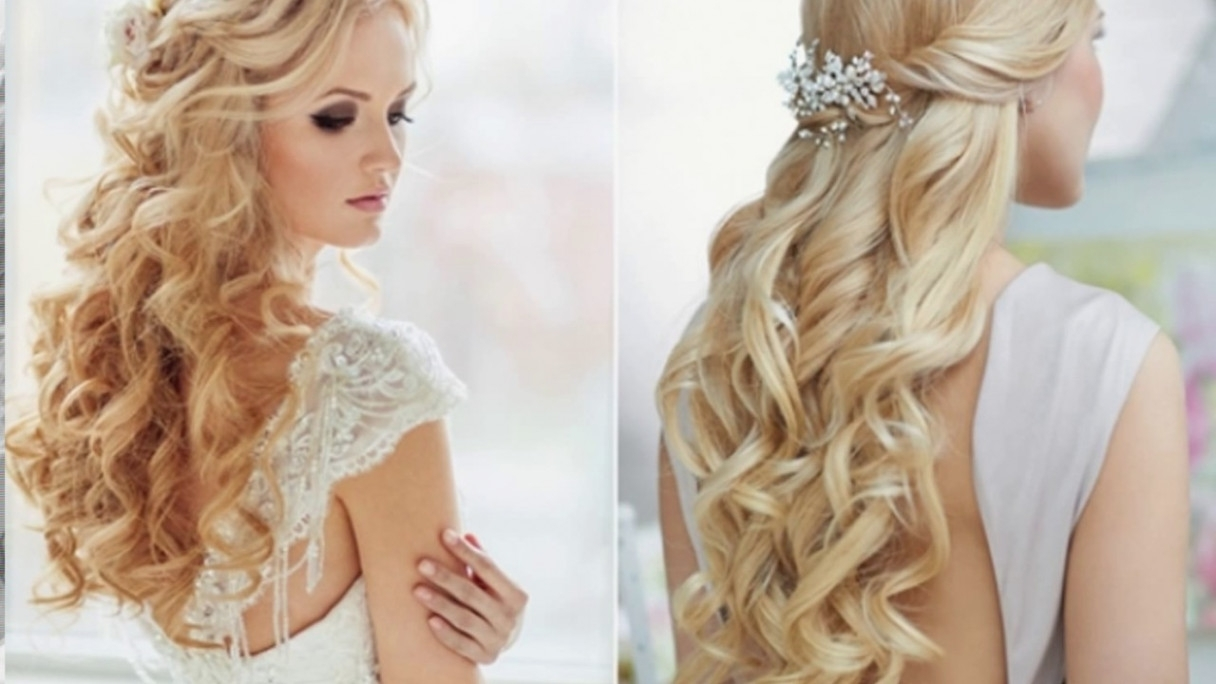 Famous Wedding Hairstyles With Long Hair Down Pertaining To Wedding Hairstyle For Long Hair Down – Youtube – Long Hair Down (View 5 of 15)