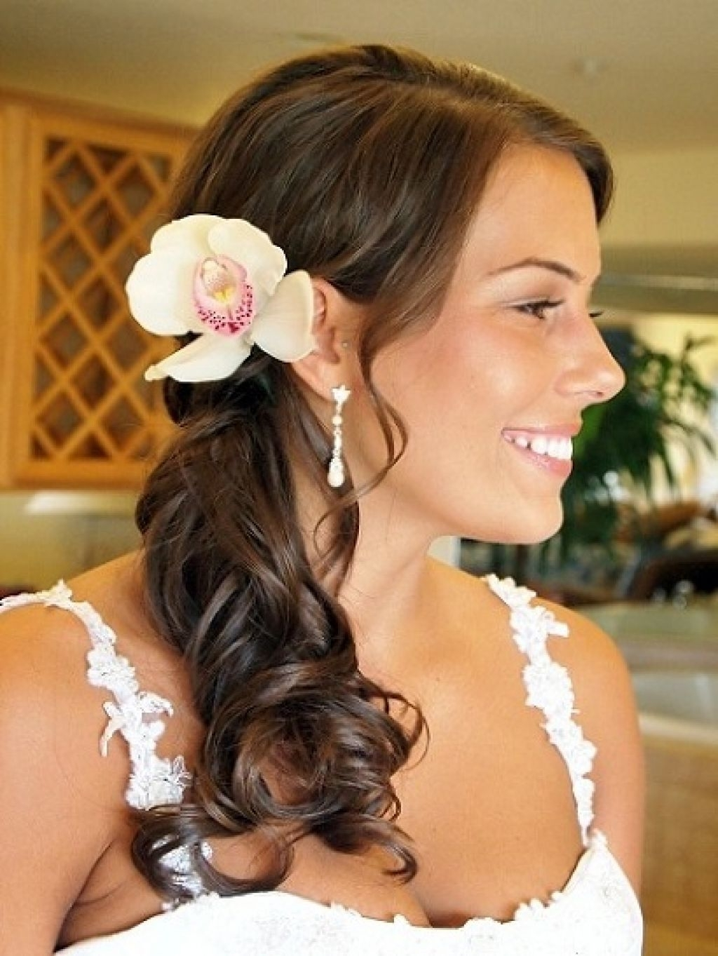 Fascinating Side Ponytail Wedding Hairstyles Curled Hairstyle Hair With Regard To Most Popular Wedding Hairstyles With Ponytail (View 9 of 15)