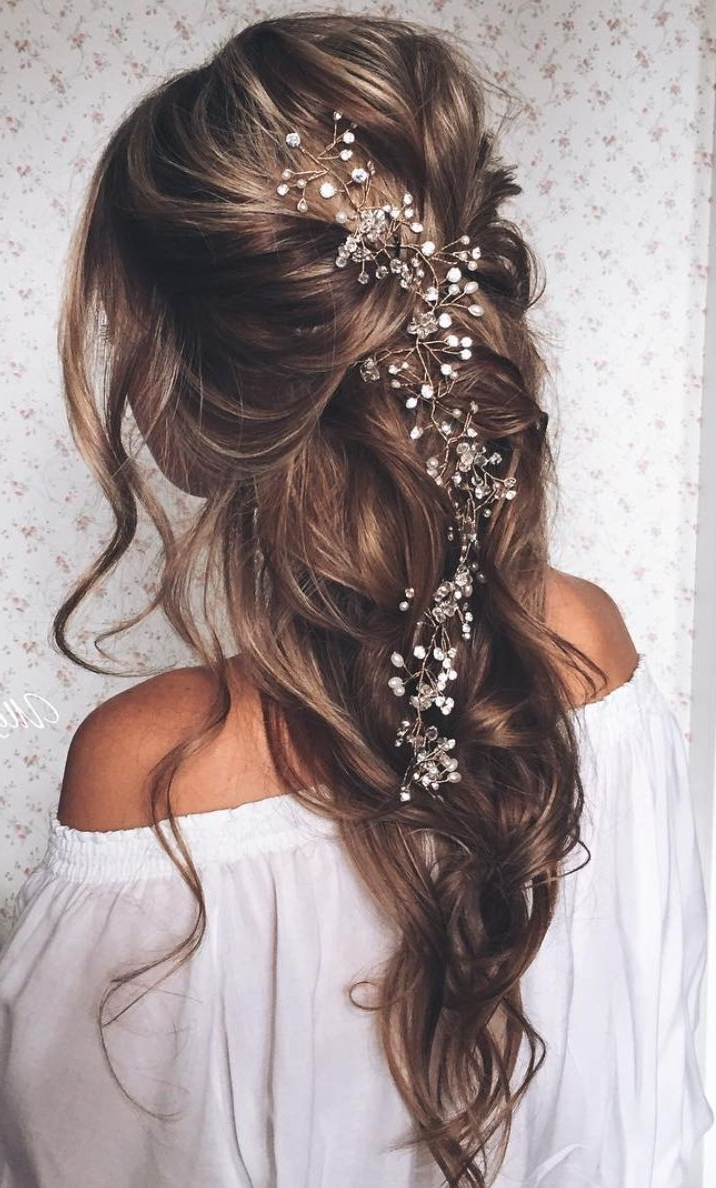 Fashionable Long Wedding Hairstyles With Flowers In Hair Inside Long Pulled Back Loose Waves Wedding Hairstyle (View 11 of 15)