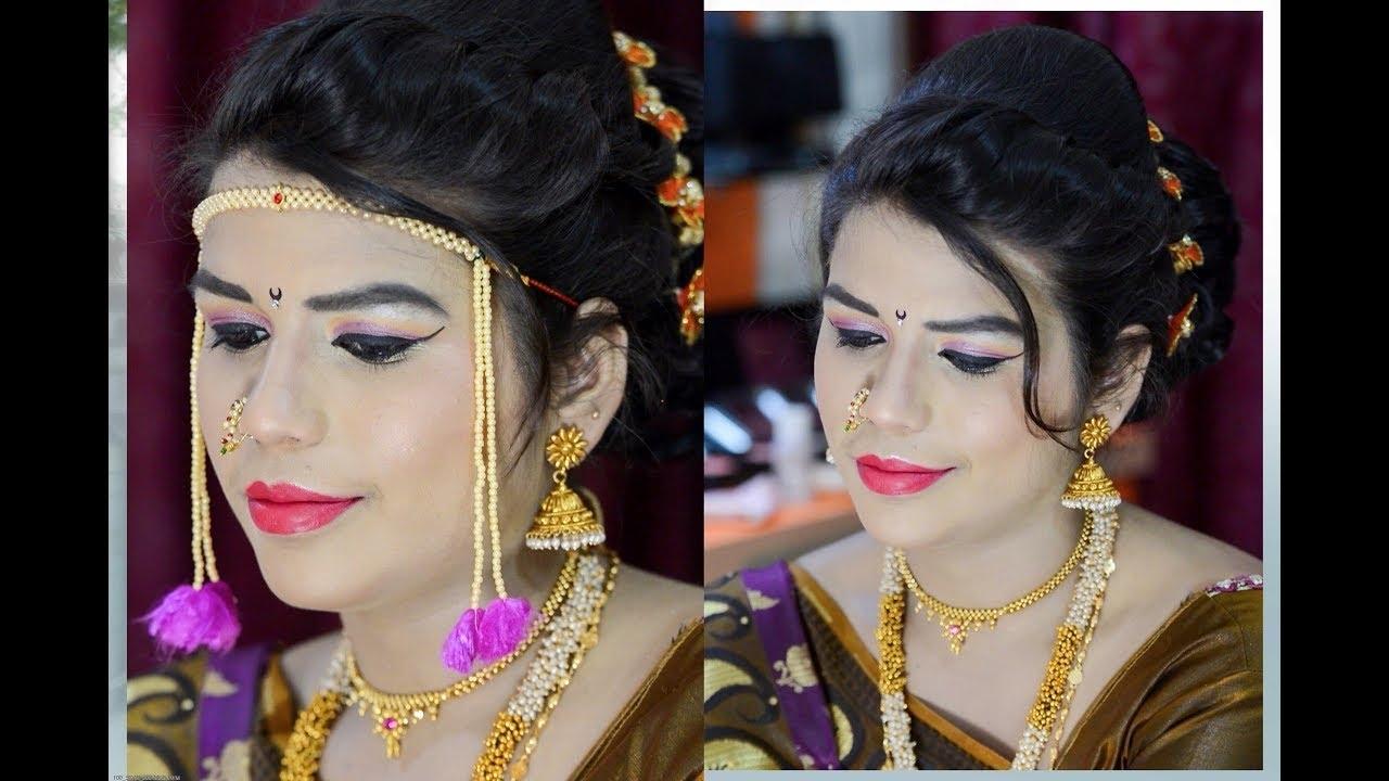 Fashionable Maharashtrian Wedding Hairstyles For Long Hair With Regard To मराठी/ महाराष्ट्रियन ब्राइडल मेकअप (View 6 of 15)