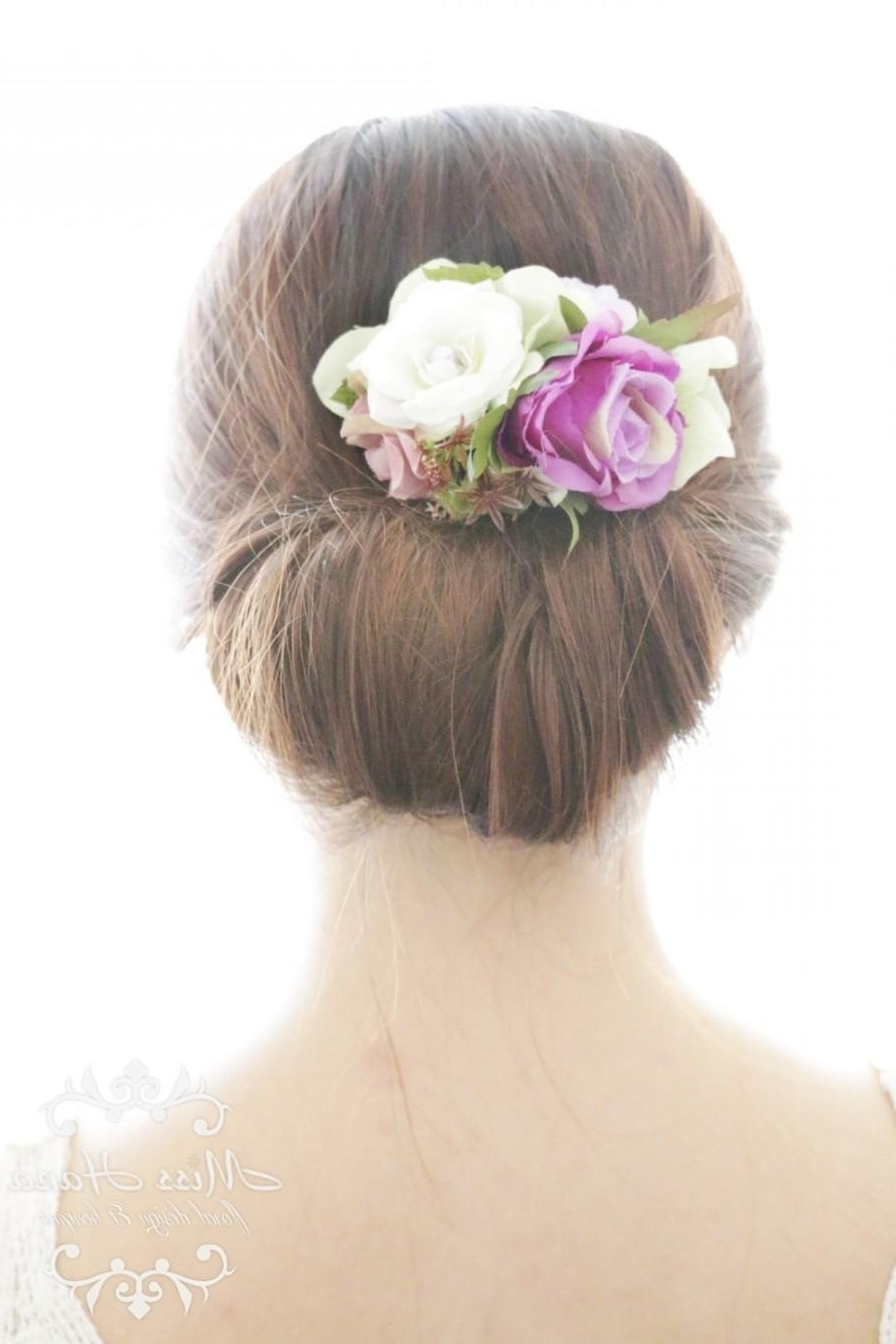 Fashionable Outdoor Wedding Hairstyles For Bridesmaids Pertaining To Bridal Hair Accessory, White Purple Rose, Bridal Hair Comb Hairpiece (View 10 of 15)