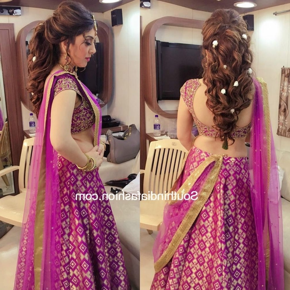 Fashionable Wedding Hairstyles For Lehenga In Hansika In A Half Saree (View 7 of 15)