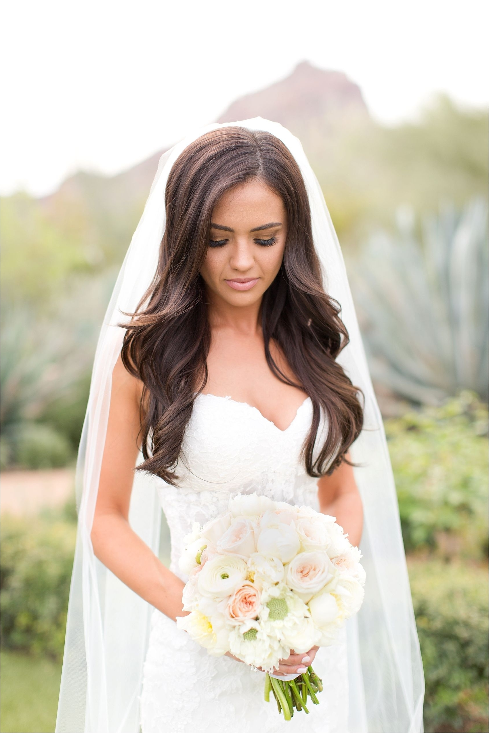 Fashionable Wedding Hairstyles For Long Hair Down With Veil Intended For Blush El Chorro Wedding In Paradise Valley, Arizona (View 2 of 15)
