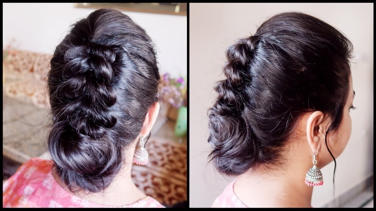 Fashionable Wedding Hairstyles For Very Thin Hair Inside Festive/wedding Guest Hairstyle For Very Thin Hair// Indian Party (View 4 of 15)