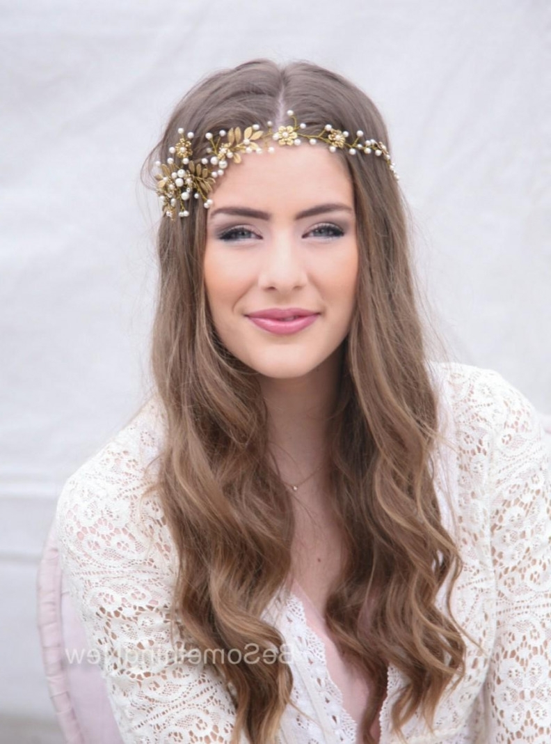 Fashionable Wedding Hairstyles With Headpiece Pertaining To Wedding Hair Vine, Brass Flower And Leaf Bridal Headpiece, Wedding (View 12 of 15)