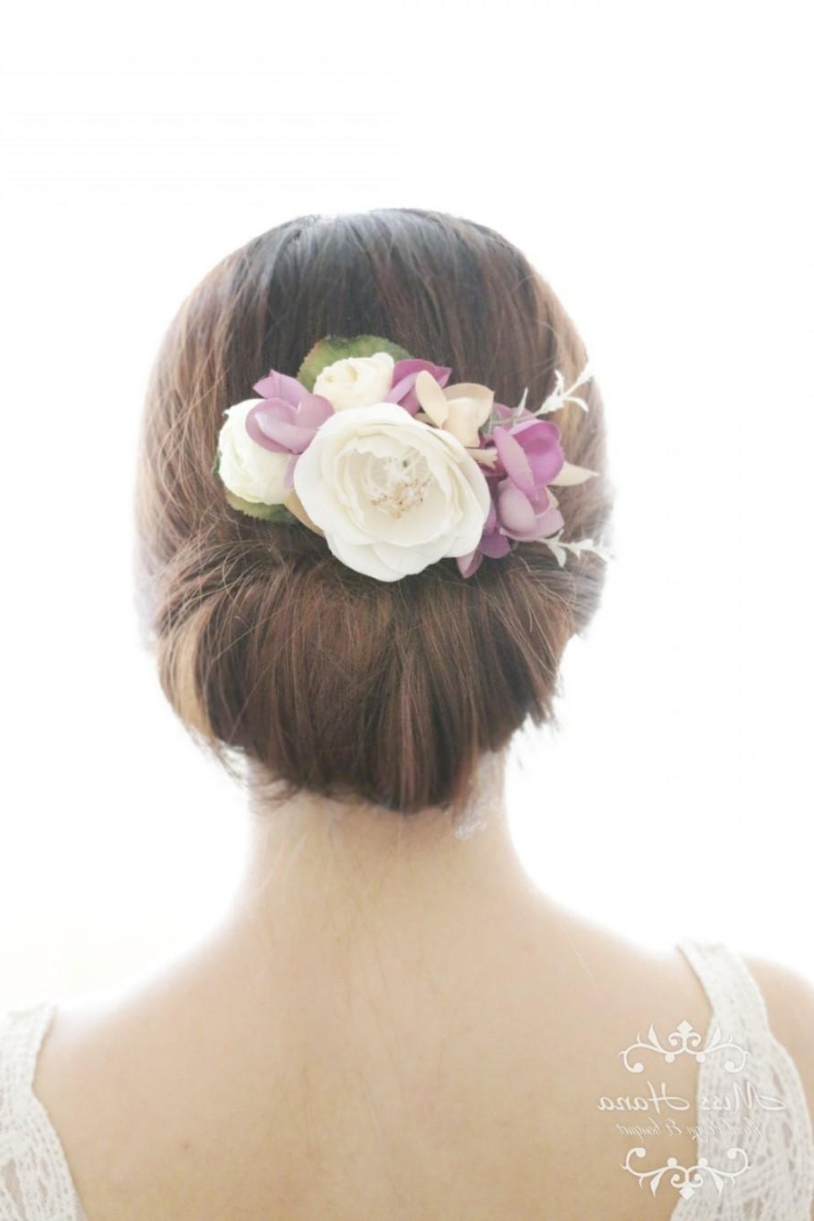 Favorite Outdoor Wedding Hairstyles For Bridesmaids Intended For Bridal Hair Accessory, White Camellia Purple Hydrangea, Bridal Hair (View 12 of 15)