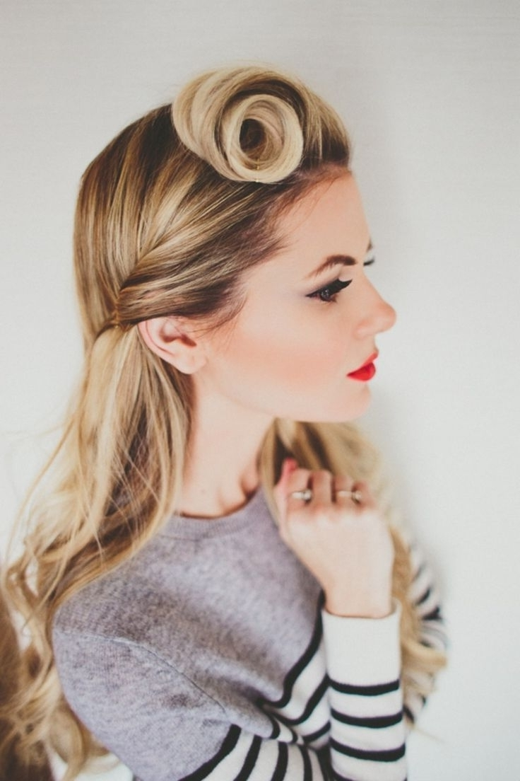 Favorite Retro Wedding Hairstyles For Long Hair Intended For Awesome Vintage Pin Up Wedding Hairstyles Design (View 15 of 15)