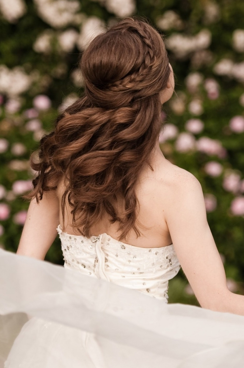 Favorite Wedding Hairstyles For Long Thick Hair With Regard To Wedding Hairstyles Ideas: Front Braided Half Up Wedding Hairstyles (View 2 of 15)
