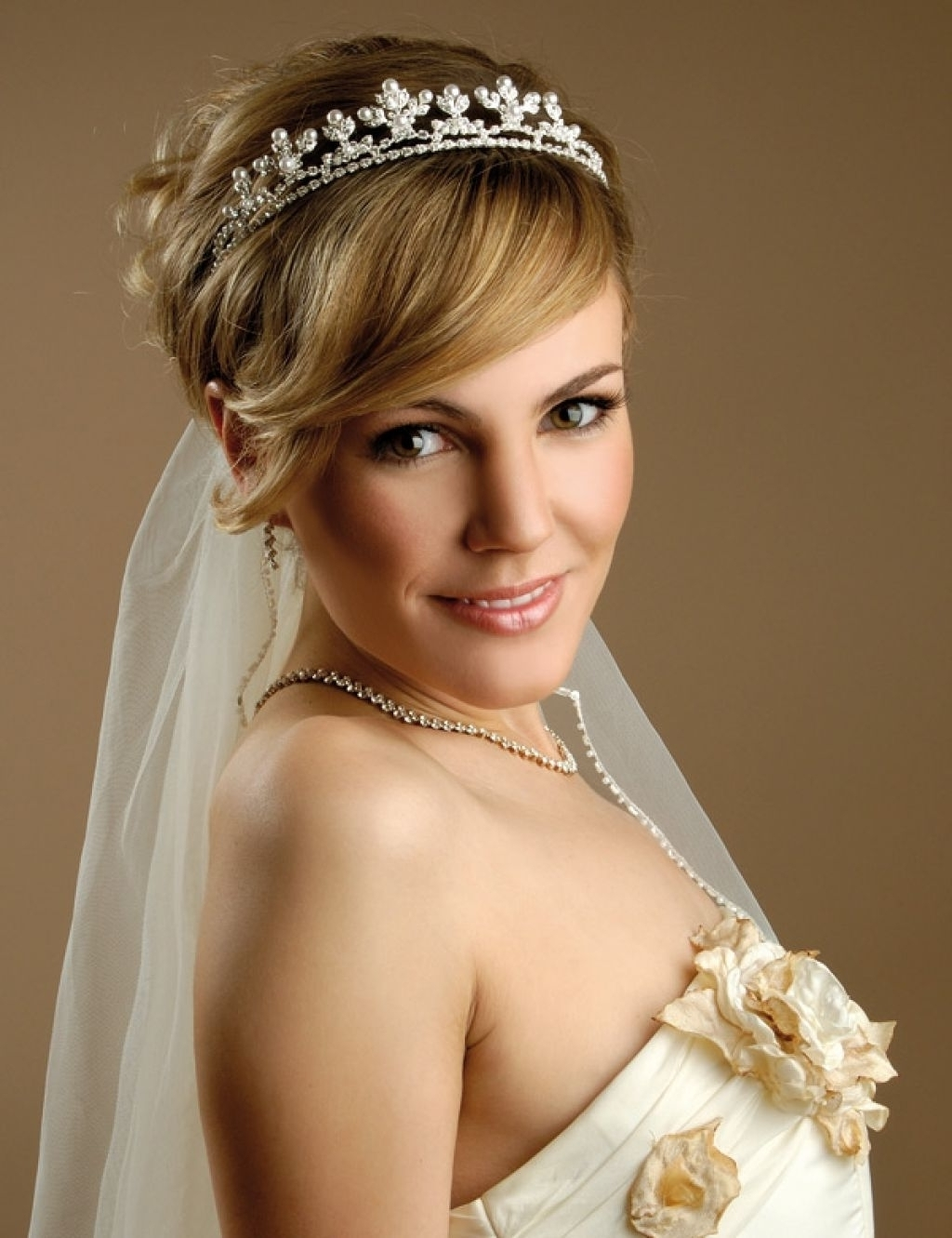 Favorite Wedding Hairstyles For Short Hair With Veil Within Photo: Wedding Hairstyles For Short Hair With Tiara And Veil Stylish (View 15 of 15)