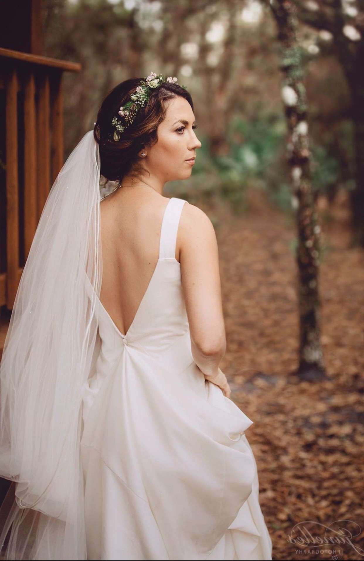 Flower Crown With Cathedral Veil & Open Back Wedding Dress… (View 3 of 15)