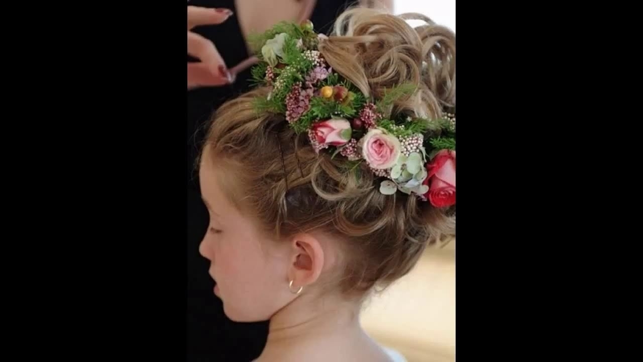 Flower Girl Wedding Hairstyles – Youtube Throughout Newest Wedding Hairstyles For Young Brides (View 8 of 15)