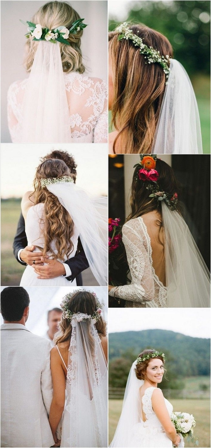 Flower Regarding Best And Newest Wedding Hairstyles With Veil And Flower (View 4 of 15)