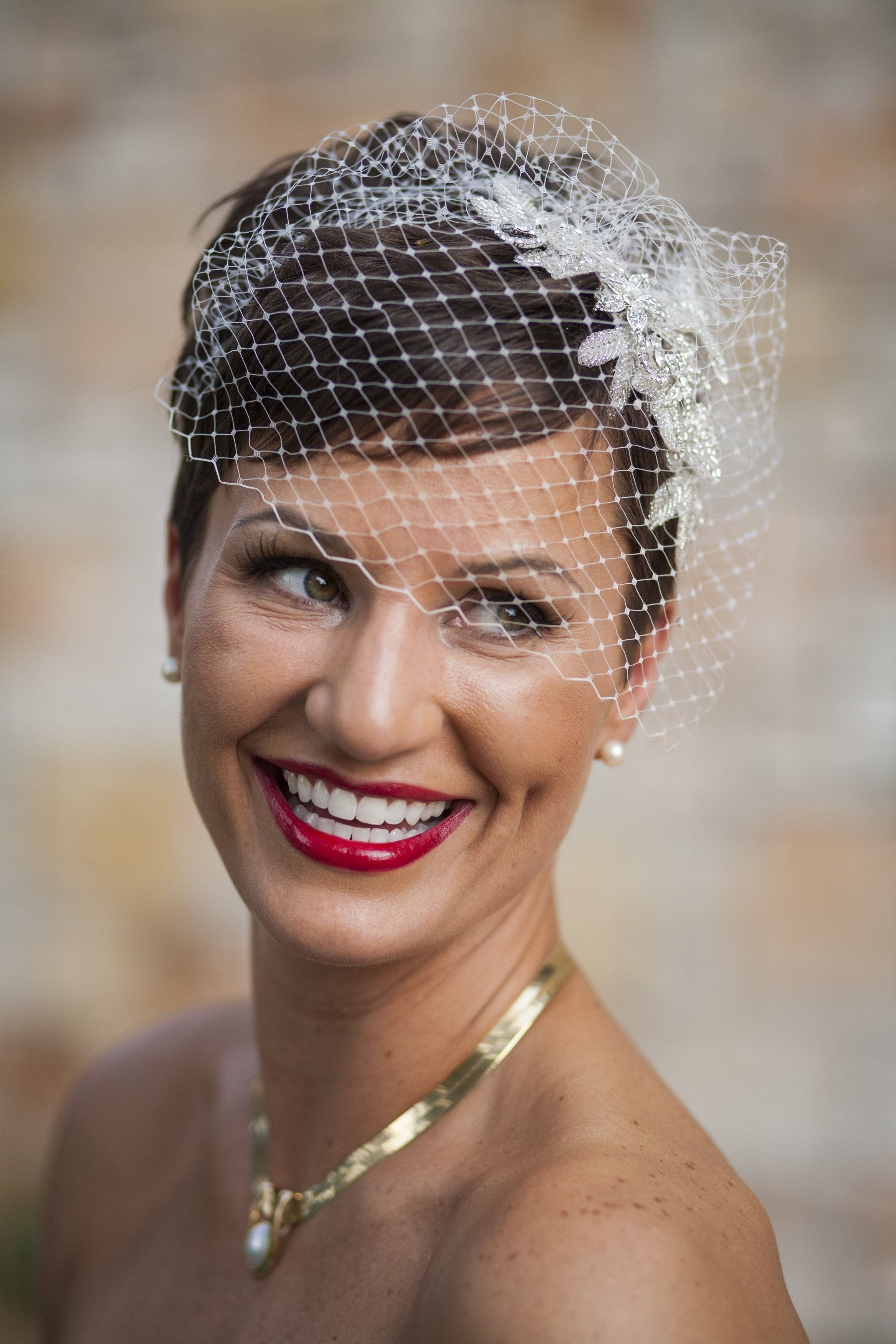 For Short Hair, Dressed Up With A Birdcage Veil (View 6 of 15)