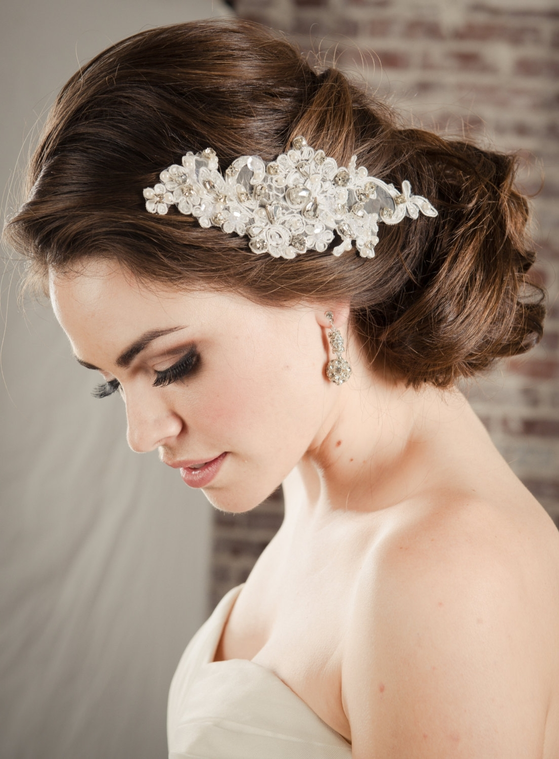 Hair Accessories Bridal Lace Comb, Pearl & Rhinestone Swarovski Intended For Most Popular Wedding Hairstyles With Accessories (View 6 of 15)
