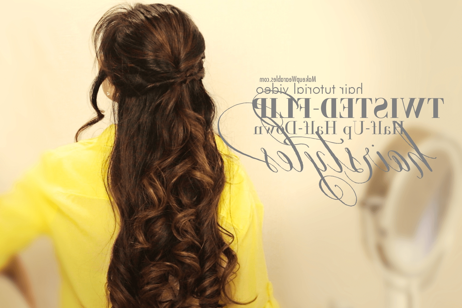Hair Tutorial Video In Widely Used Hair Half Up Half Down Wedding Hairstyles Long Curly (View 8 of 15)
