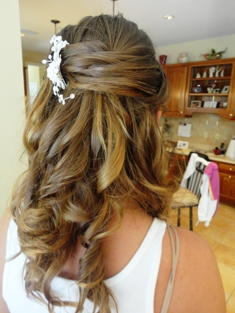 Hairstyles Half Up And Down For Weddingh Veil Medium Hair Bridal Throughout Most Recently Released Wedding Hairstyles For Straight Mid Length Hair (View 9 of 15)