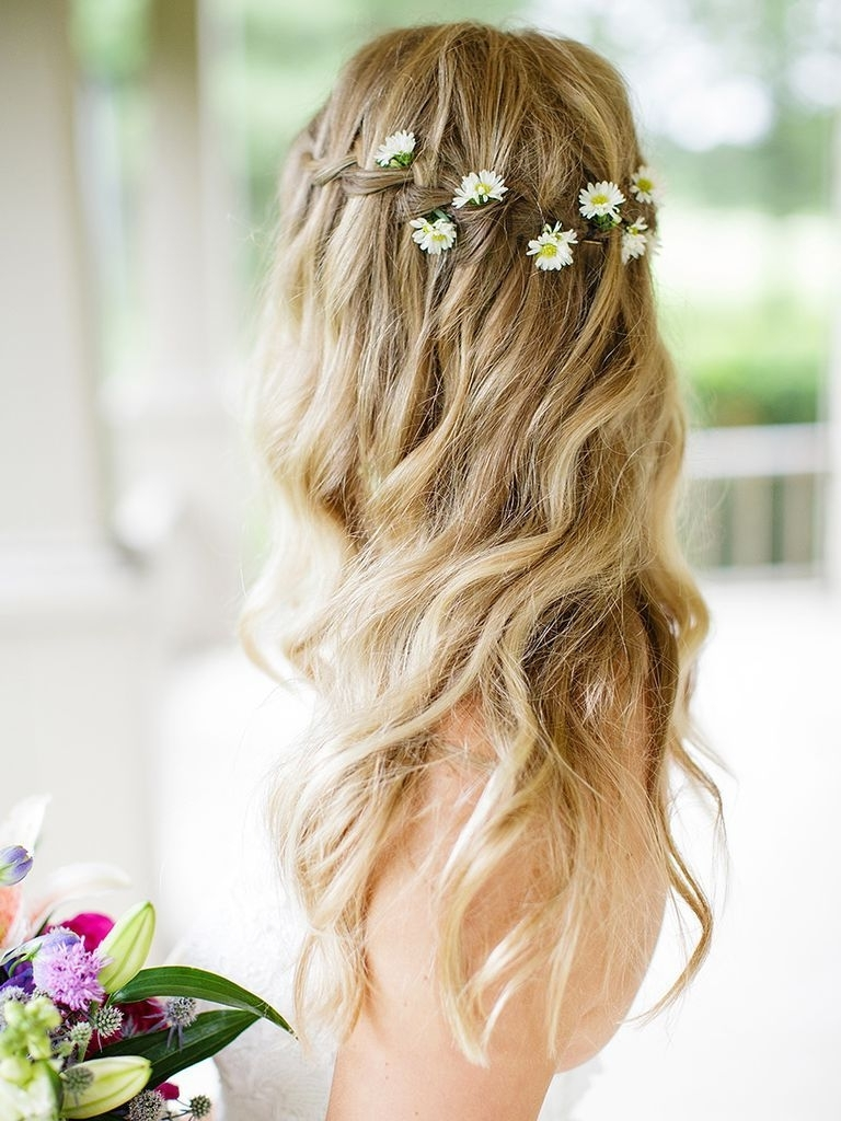 Ideas Long Pulled Back Loose Waves Wedding Hairstyle Curls Hair Half Inside Well Liked Pulled Back Wedding Hairstyles (View 4 of 15)