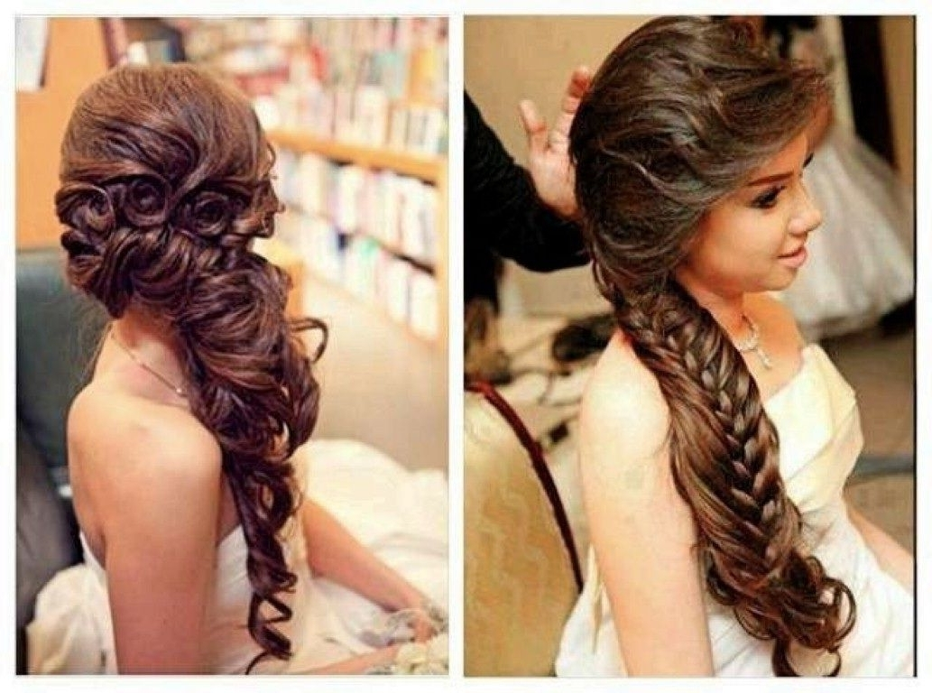 Incredible Bridal Hairstyle For Long Medium Hair Romantic Wedding Regarding Latest Down Straight Wedding Hairstyles (View 5 of 15)