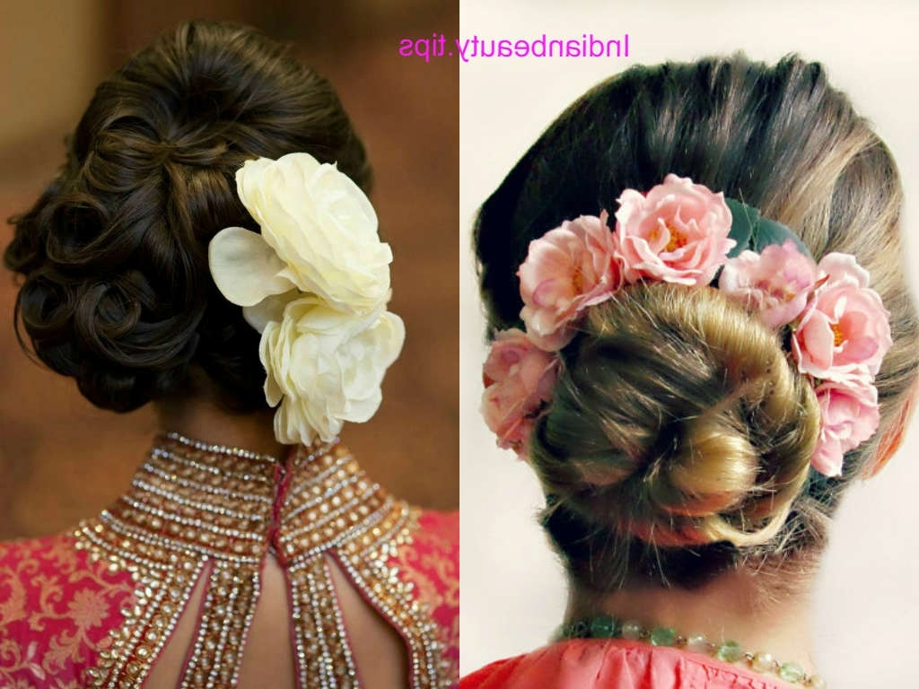Indian Bridal Bun Hairstyles With Flowers – Indian Beauty Tips In Current Roses Wedding Hairstyles (View 9 of 15)