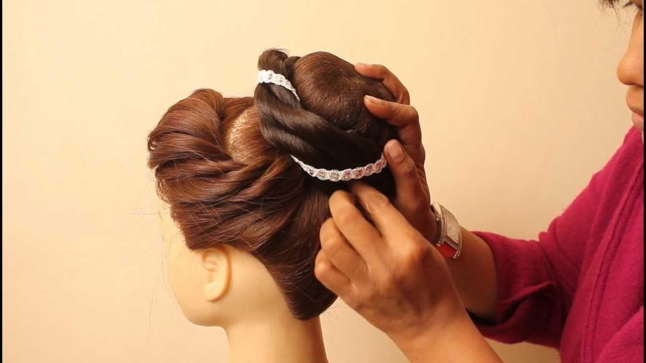 Indian Bridal Hairstylesestherkinder – Youtube Intended For Popular Wedding Hairstyles By Estherkinder (Gallery 6 of 15)