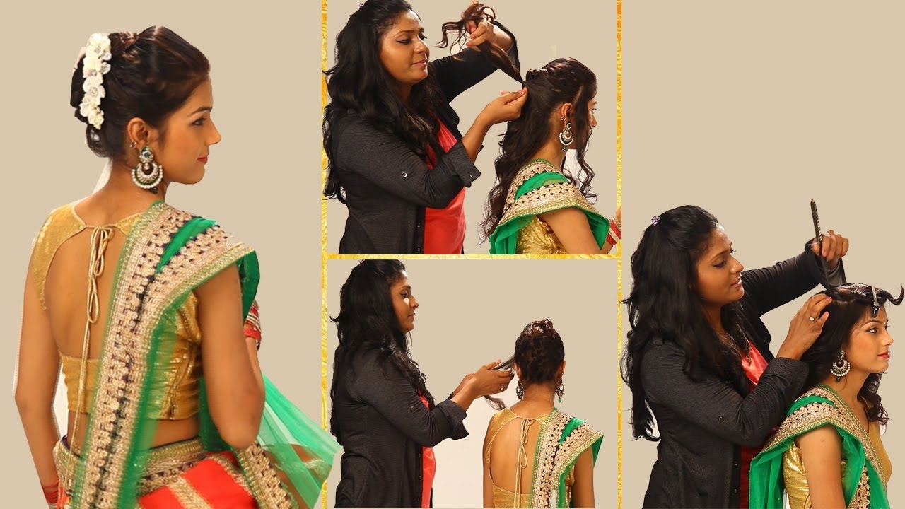 Indian Simple Hairstyles For Wedding To Do Yourself Twist And Flip Throughout Most Popular Indian Wedding Hairstyles For Long Hair On Saree (View 13 of 15)