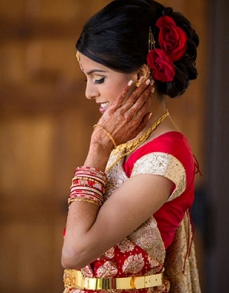 Indian Wedding Reception Hairstyle – Hollywood Official Pertaining To Well Known Indian Wedding Reception Hairstyles (View 7 of 15)