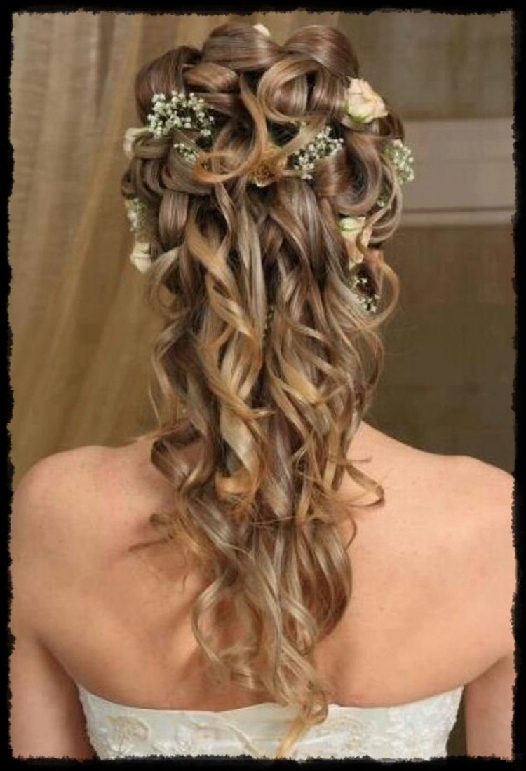Inspiring Half Up And Half Down Wedding Hairstyles For Medium Length Throughout Recent Half Up Half Down Wedding Hairstyles For Medium Length Hair With Fringe (Gallery 3 of 15)