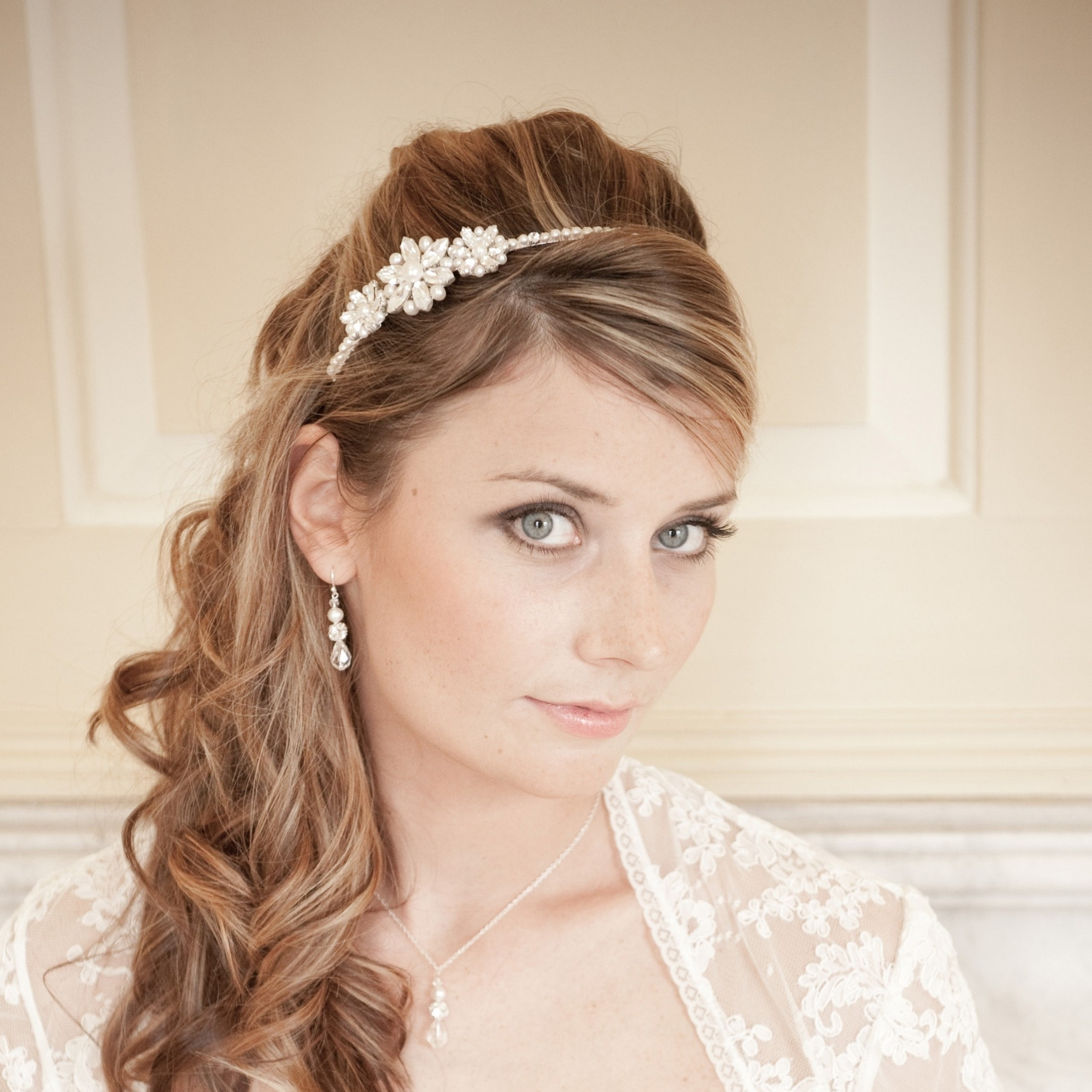 Interesting Bride Hairstyles Down About Wedding Hairstyles With With Regard To Popular Wedding Hairstyles With Headband (View 7 of 15)