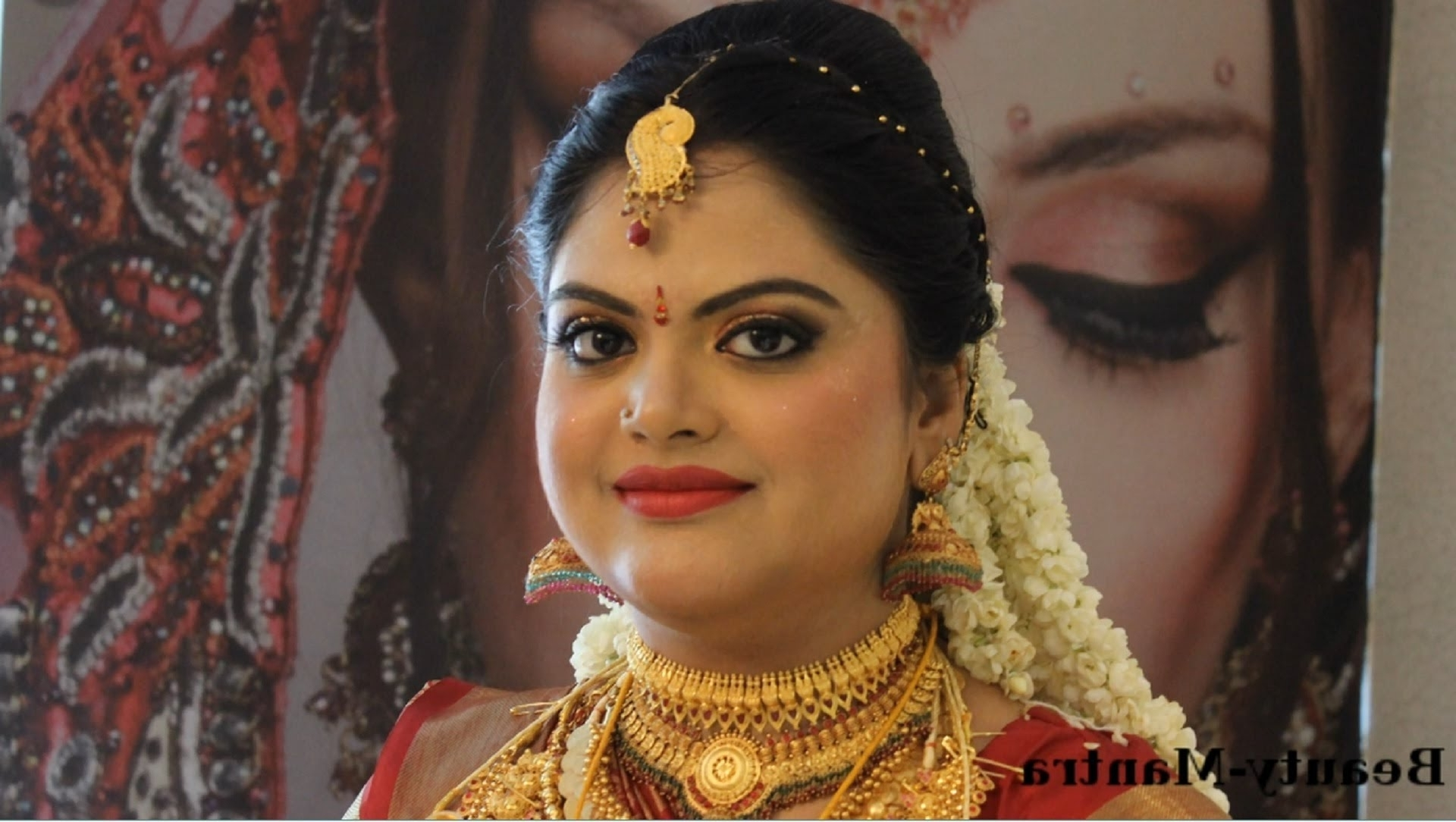 Kerala Hindu Bridal Makeup – Youtube In 2017 South Indian Tamil Bridal Wedding Hairstyles (Gallery 11 of 15)