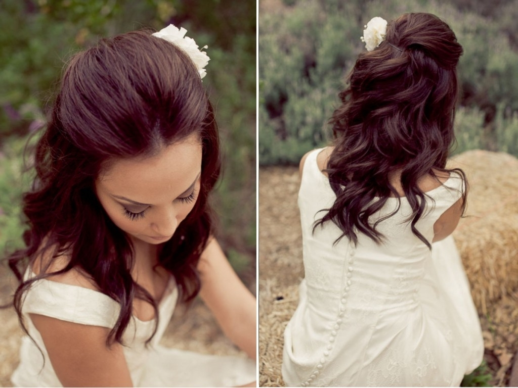 Latest Half Up Half Down Wedding Hairstyles For Medium Length Hair With Fringe Regarding Wedding Hair Styles Half Down (View 7 of 15)