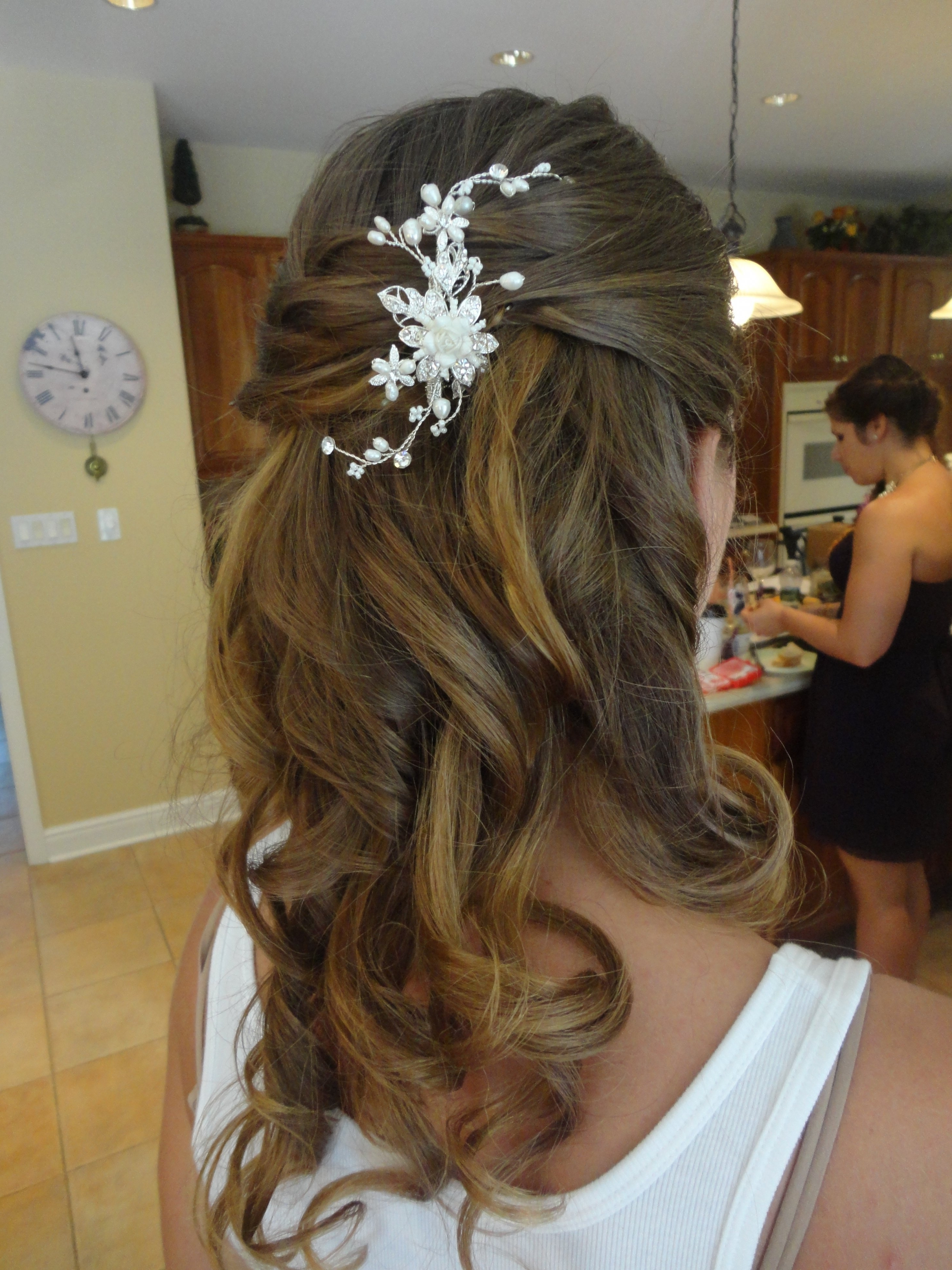 Featured Photo of Half Up Half Down With Flower Wedding Hairstyles