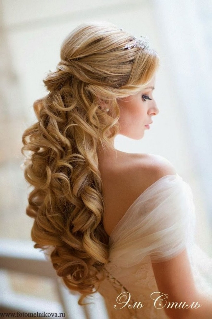 Long Curly Wedding Hairstyles With Flowers Bridal Tiara Hair Intended For Latest Wedding Hairstyles With Veil And Tiara (View 4 of 16)