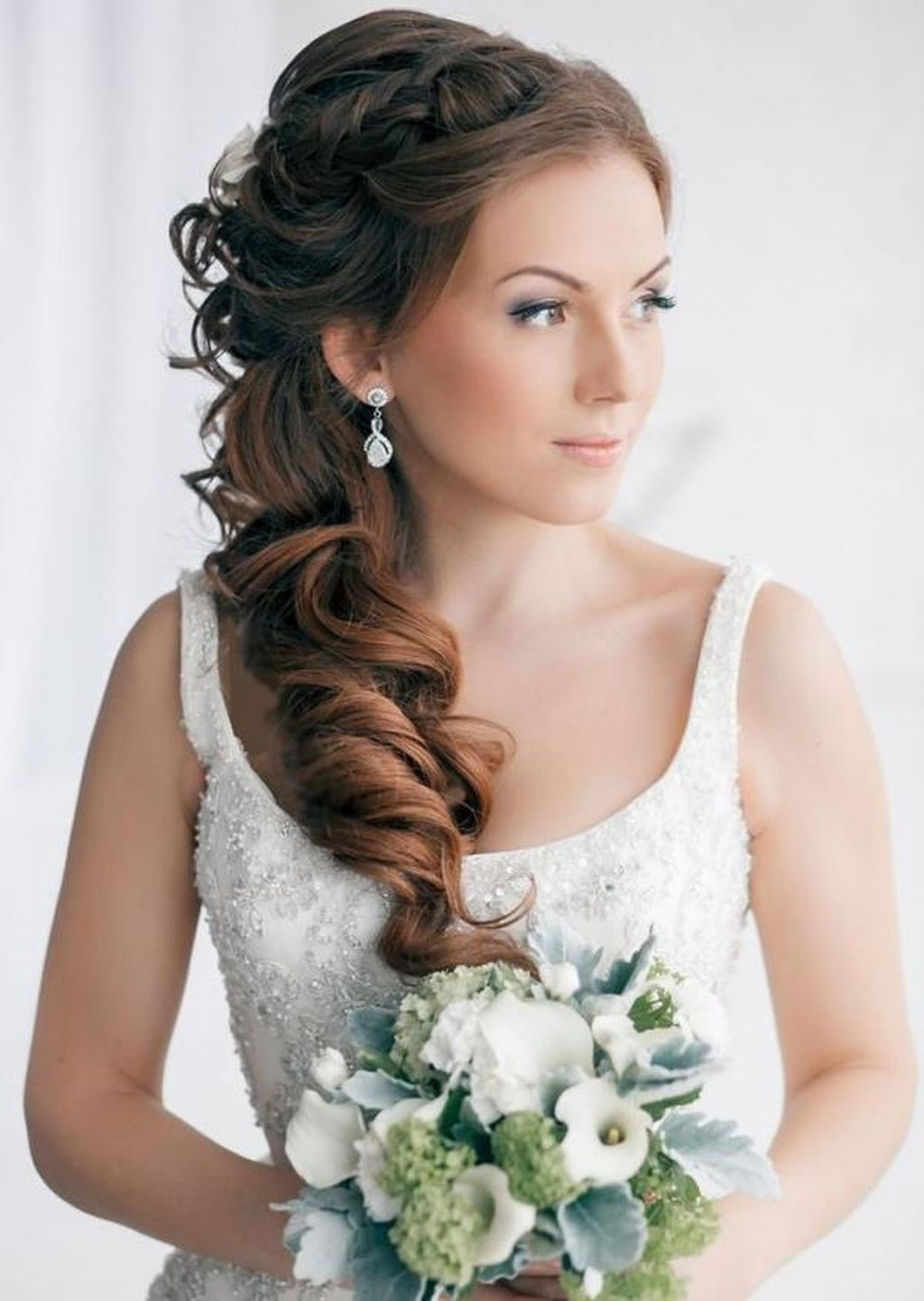 Long Hair Bridal Hairstyles Wedding Hairstyles Updos Pulled Back Throughout 2018 Pulled Back Wedding Hairstyles (View 5 of 15)