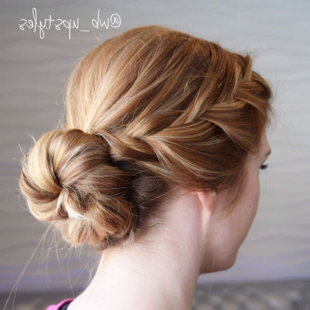Low Loose Bun With A Braid (Gallery 8 of 15)