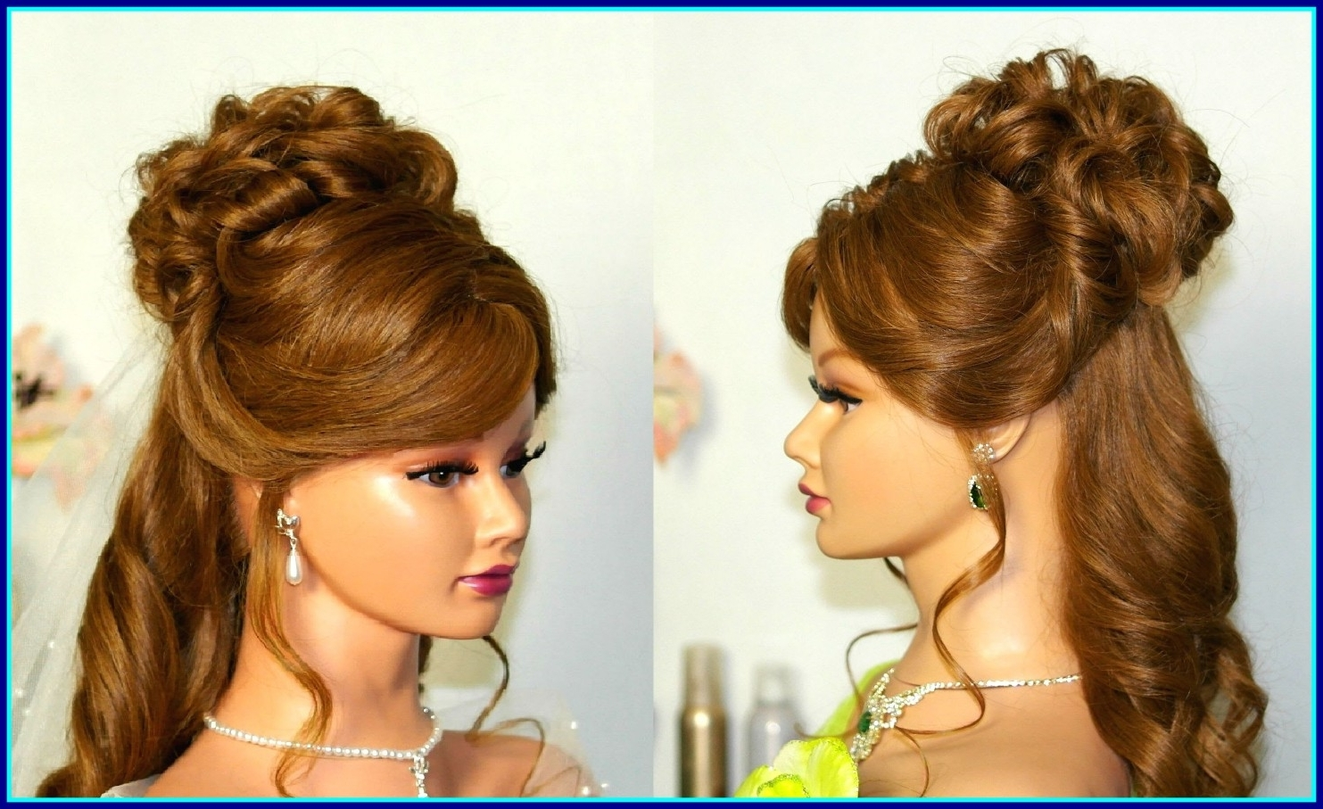 Marvelous Wedding Hairstyle For Medium Long Hair Curly Half Up Down Intended For Latest Up And Down Wedding Hairstyles (View 10 of 15)