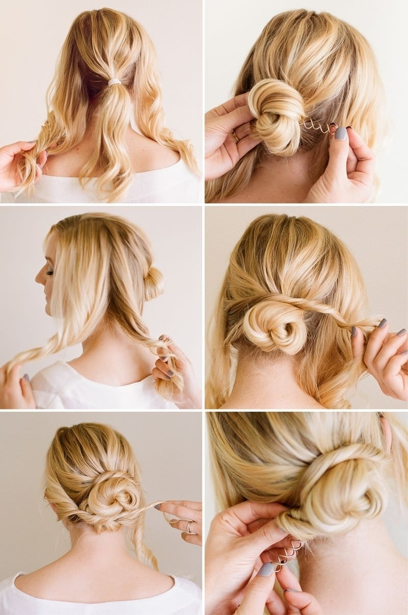 Messy Bun Hairstyles For Short Hair Stepstep Deceptive Bun Throughout Well Known Easy Bridal Hairstyles For Short Hair (View 9 of 15)