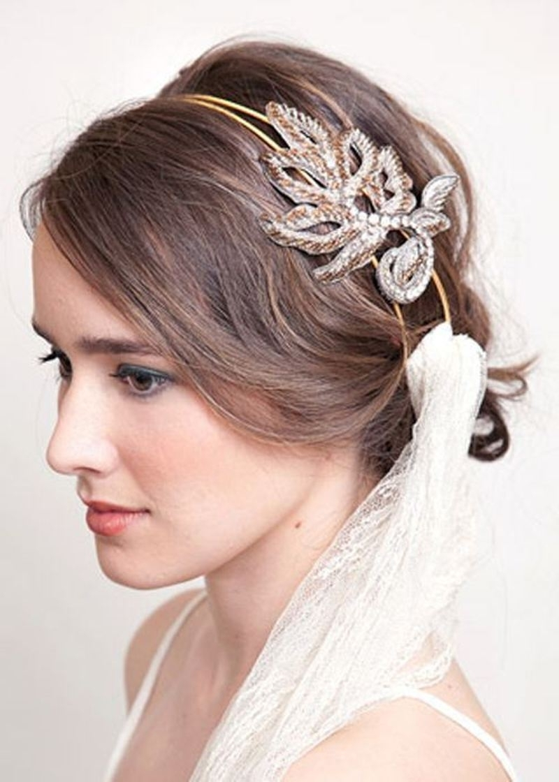 Most Current Bridal Hairstyles For Short Length Hair With Veil Intended For Wedding Hairstyles For Short Hair 2015 – Braids, Tiara Or Other Ideas? (View 12 of 15)