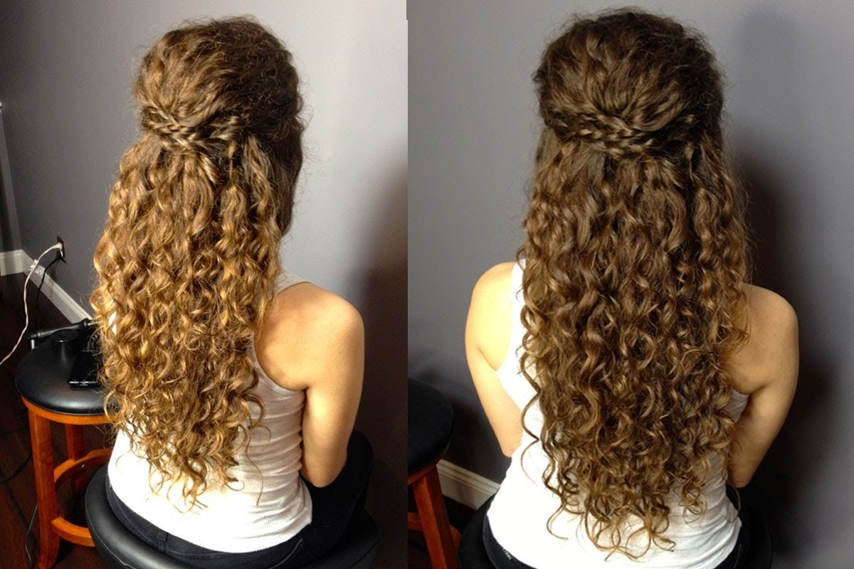 Most Current Curly Hair Half Up Wedding Hairstyles With Half Up Half Down Updo For Naturally Curly Hair: Easy Braided (View 8 of 15)