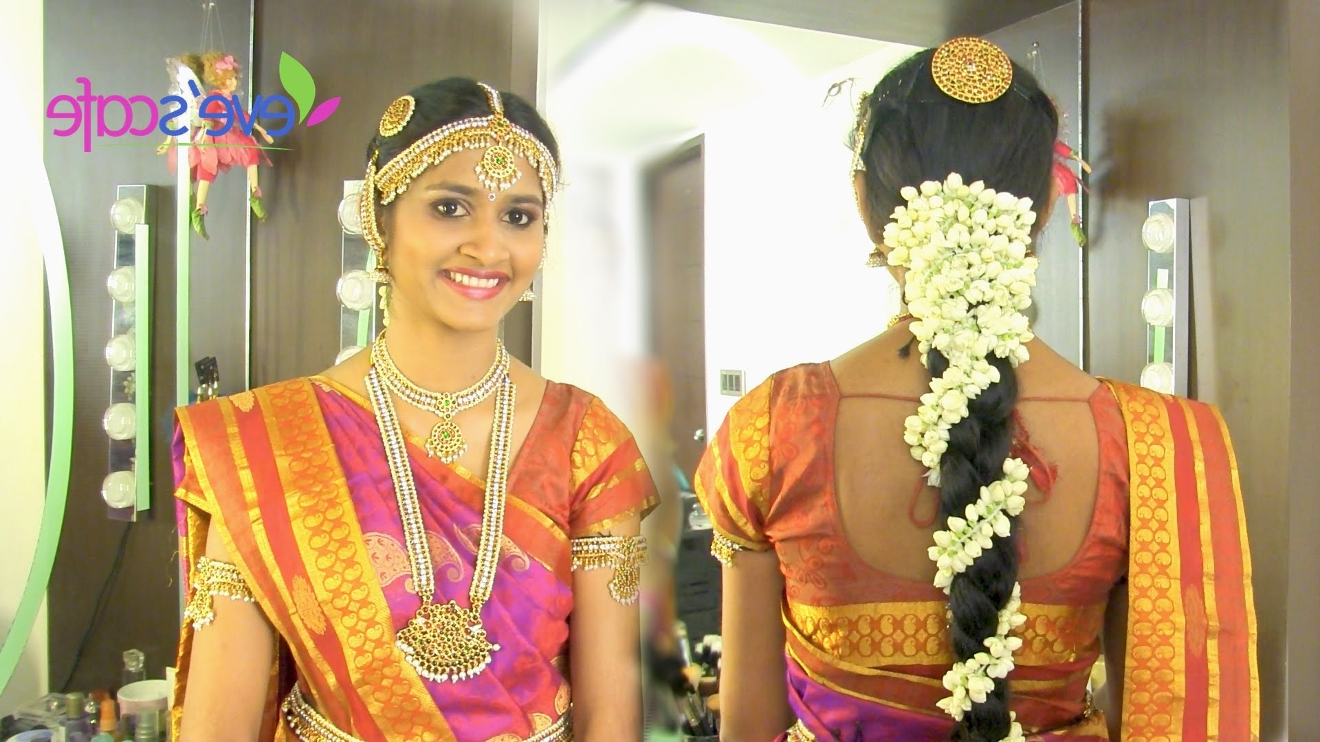 Most Current Traditional Wedding Hairstyles With Regard To Traditional Bridal Makeup South Indian Bride – Youtube (View 10 of 15)