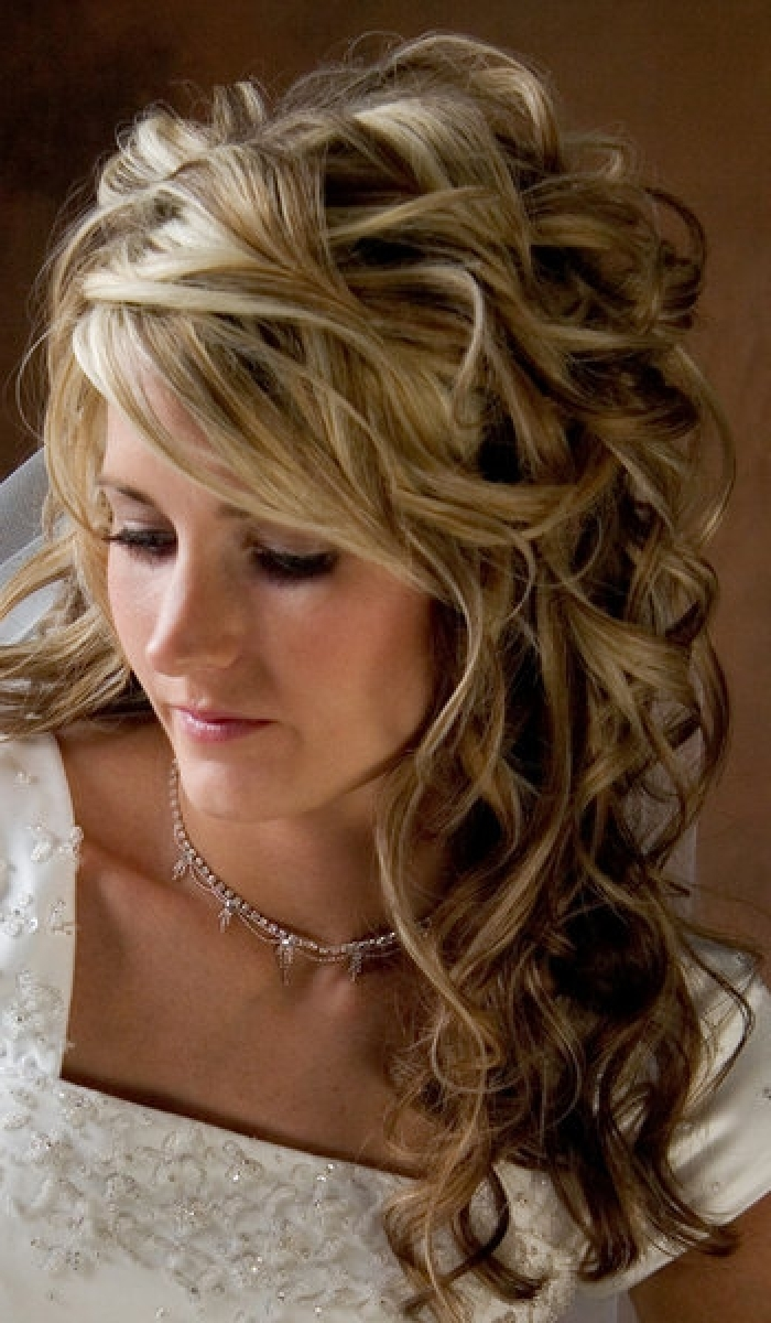 Most Current Wedding Hairstyles For Long Curly Hair With Veil Intended For Wedding Hairstyles Ideas: Long Curly Half Up Wedding Hairstyles For (View 5 of 15)