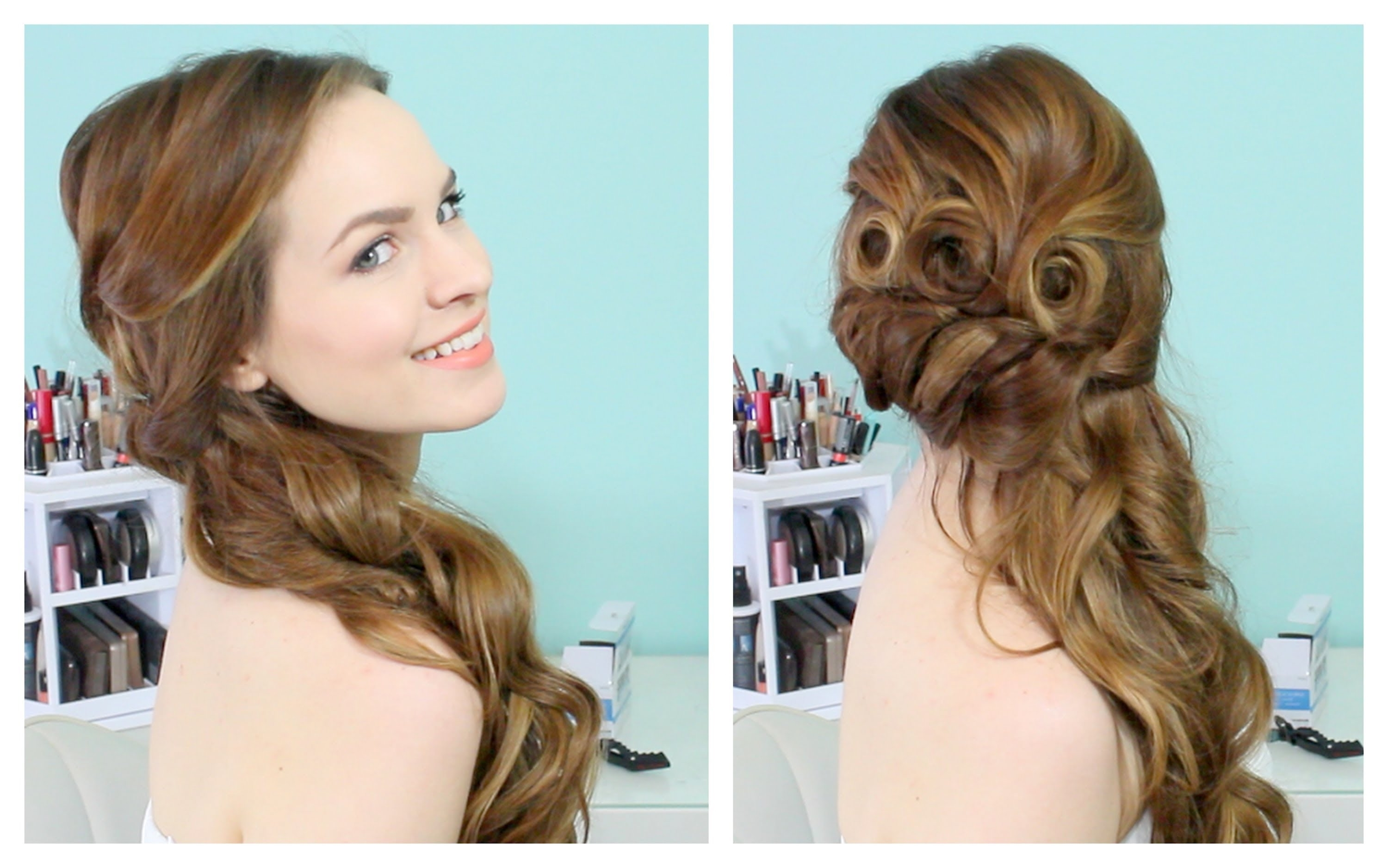 Most Current Wedding Hairstyles For Long Hair With Side Swept Intended For Beautiful Side Swept Updo – Youtube (View 3 of 15)
