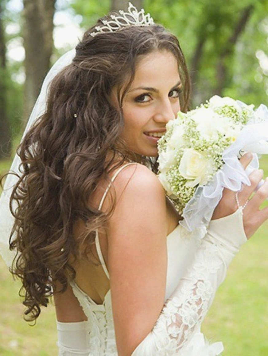 Most Current Wedding Hairstyles For Long Hair With Tiara Regarding Ten Common Misconceptions About Bridal Hair With Veil And (View 7 of 15)
